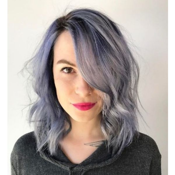 Silver Violet Fox Shag Haircut With Loose Waves