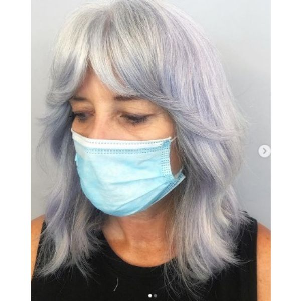 Silvery Blonde Medium Shag With Lilac Hues