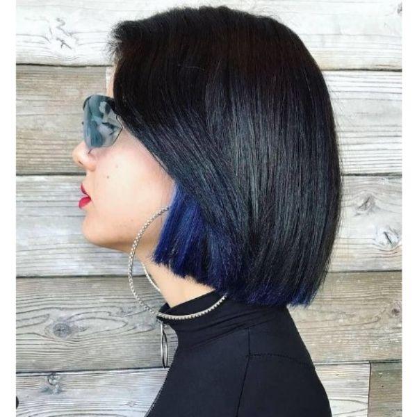 Straight Dark Medium Bob With Blue Underlights Haircut