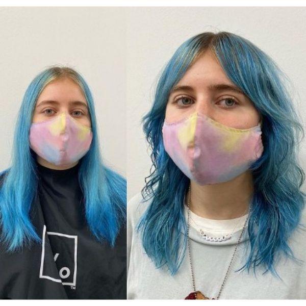 Teal Blue Medium Shag With Curtain Bangs