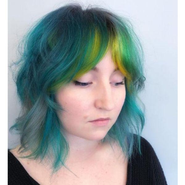 Teal Blue Shag With Lemon Green Neon Bangs