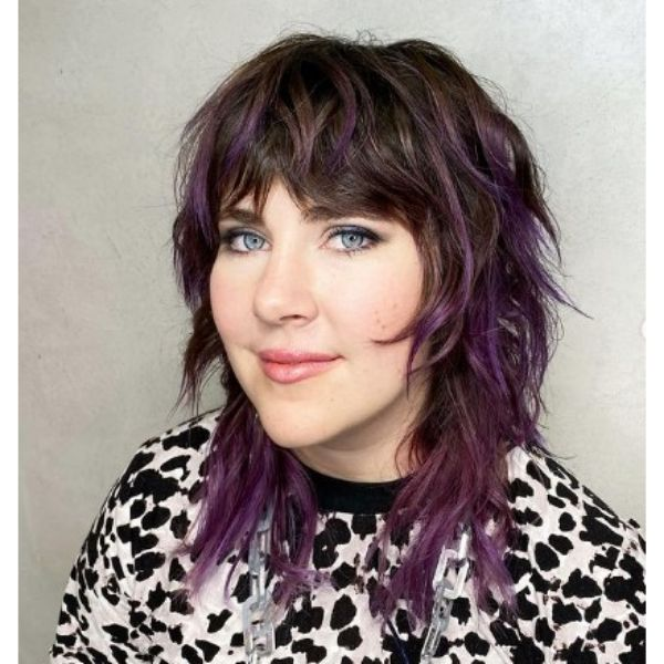 Textured Medium Shag With Violet Highlights