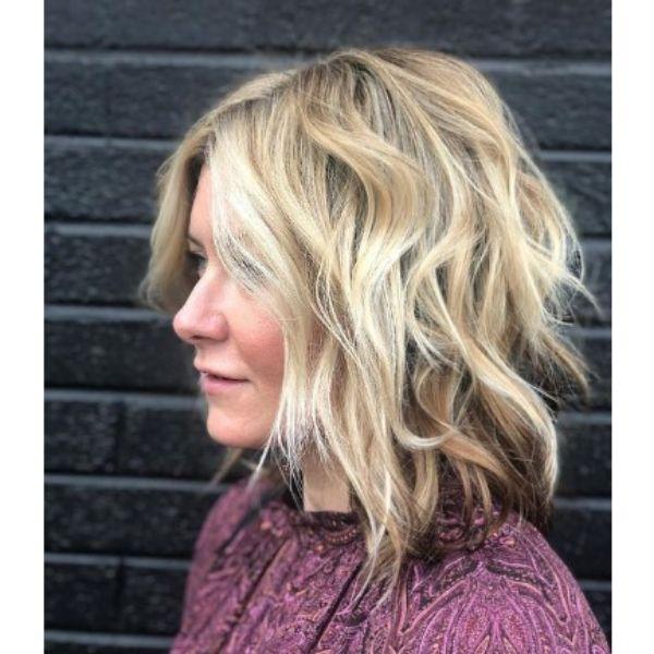 Wavy Blonde Medium Shag With Brown Highlights