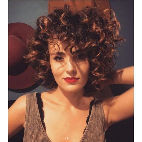 Bouncy Shoulder Length Curly Hair