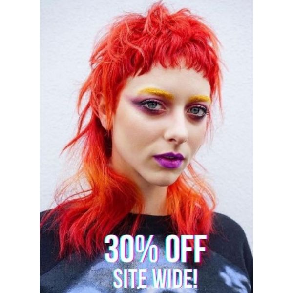 Bright Orange Mullet With Rounded Bangs Haircut