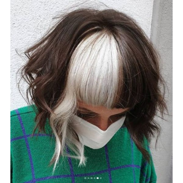 Brown Blonde Curly Bob With Soft Waves Haircut Medium Shaggy Wispy Haircuts