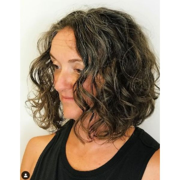 Curly Bob With Silver Strands Hairstyle