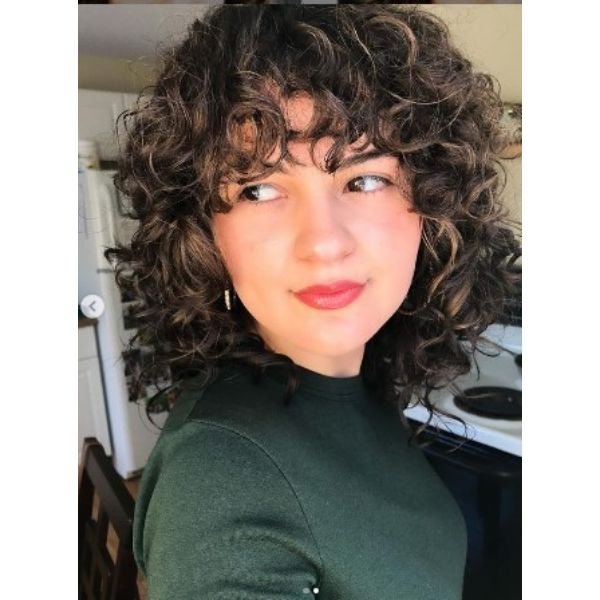 Curly Shag With Subtle Blonde Highlights