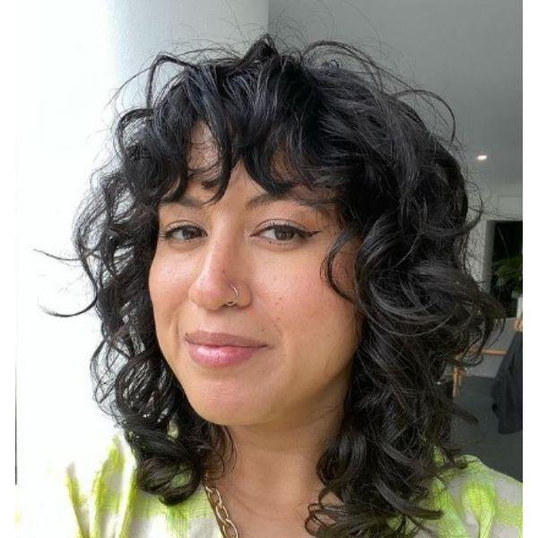 Dark Curly Medium Hairstyle