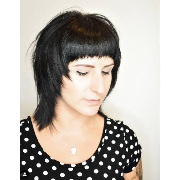 Dark Shag Razor Cut Medium Shaggy Wispy Haircuts