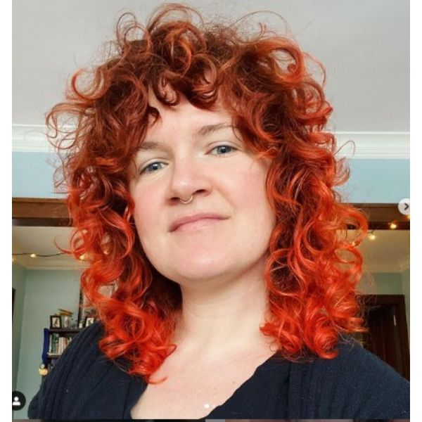 Fire Red Curly Shag Hairstyle