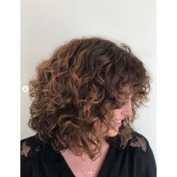 Medium Long Curly Shag With Straight Bangs