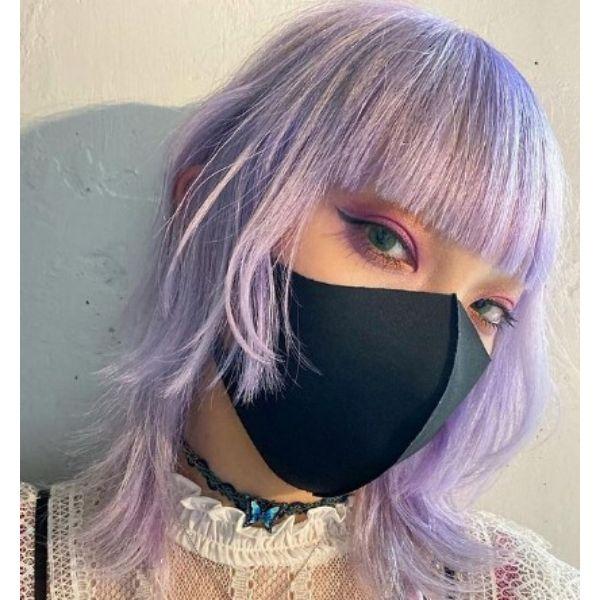 Medium Pastel Purple Haircut Medium Shaggy Wispy Haircuts