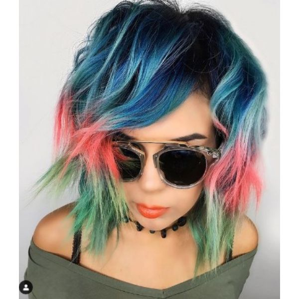 Medium Shaggy With Blue Pink And Pastel Green Tips Medium Shaggy With Blue Pink And Pastel Green Tips