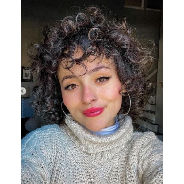 Natural Shoulder Length Curly Hair With Golden Highlights