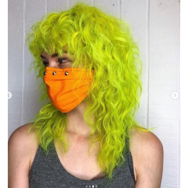 Neon Green Shoulder Length Curly Hair