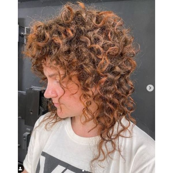 Shoulder Carrot Red Curly Hair With Razored Bangs