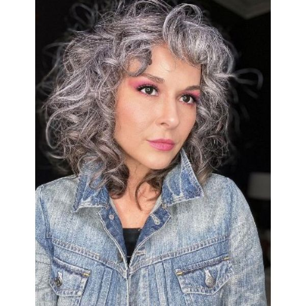Silver Blonde Shoulder Length Curly Haircut