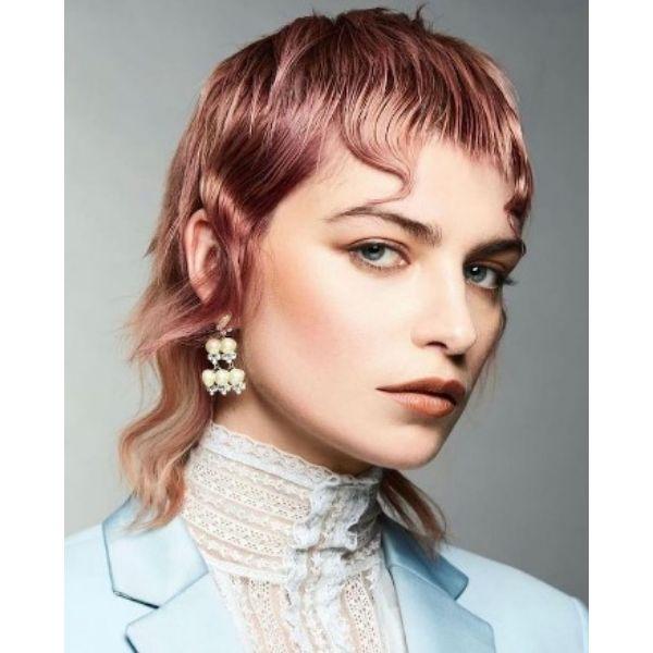 Sleek Shaggy Mullet WIth Metallic Pink Reflections Medium Shaggy Wispy Haircuts