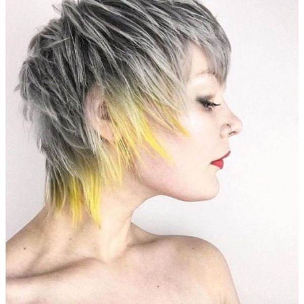 Ultimate Gray And Illuminating Yellow Razor Cut With Wispy Texture