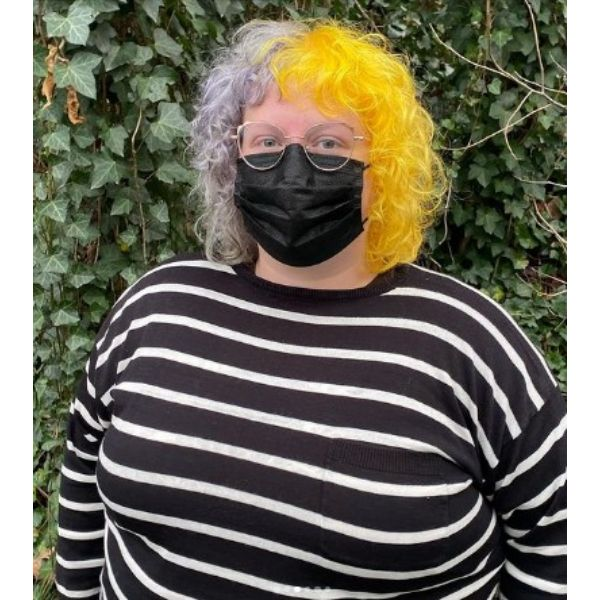 Ultimate Gray Illuminating Yellow Shoulder Length Curly Hair