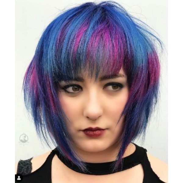 Vibrant Disco Colored Bob With Straight Bangs