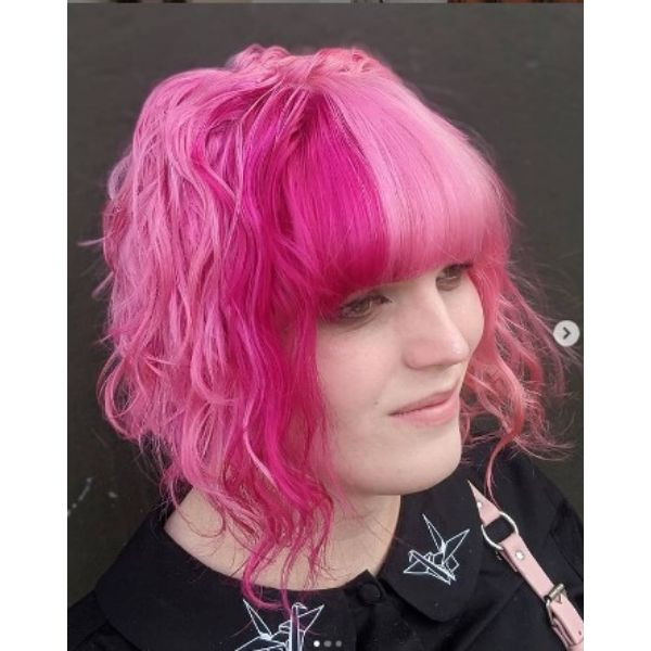 Wavy Candy- Pink Shoulder Length Curly Hair